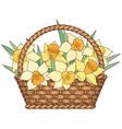 Basket flowers vector