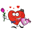 Heart man carrying chocolates and rose vector
