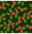 Winter seamless pattern with stylized holly leaves vector