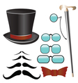Mustaches and retro accessories vector