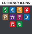Currency icons set with shadow vector
