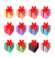 Set of beautiful gift boxes with red ribbon vector