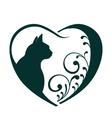 Love cat heart logo vector