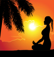 Summer holiday training yoga girl palm tree vector