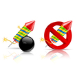 Firework rockets bomb and stop sign on white vector