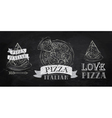 Pizza symbol icons chalk on the blackboard vector