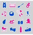 Equipment for baby stickers set eps10 vector