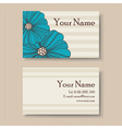 Business floral card with blue flowers vector