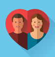 Couple of lovers in heart flat vector