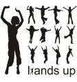 Hands up people silhouettes vector