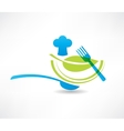 Blue kitchen set cook and a green leaf icon vector