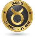 Taurus zodiac gold sign taurus symbol vector