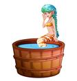 A big bathtub with a mermaid vector