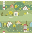 Seamless pattern with village and houses vector