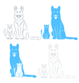 Sitting cat and dog vector