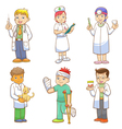 Doctor and medical person cartoon set vector