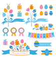 Set of easter design elements vector
