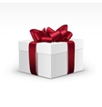 White gift box with red burgundy ribbon isolated vector