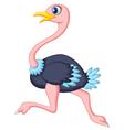 Cute ostrich cartoon running vector