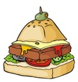 Pyramid shaped burger illustration vector