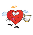 Heart angel flying with lyre vector