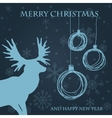 Christmas card with reindeer in santa hat vector