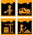 Set yellow urban building industrial icons vector