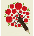 Red apples tree pencil concept vector