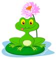 Green frog cartoon sitting on a leaf vector