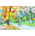 Original unusual marker painting of landscape fine vector
