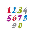 Hand written colorful numbers stylish drawn vector
