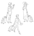 Woman with suitcase vector