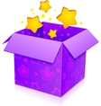 Violet magic box with yellow stars inside vector