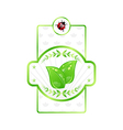 Natural eco label green leaves for packed product vector