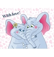 Greeting card with love lovers elephants on a vector