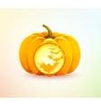 Halloween pumpkin with a carved bats vector