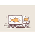 Truck free and fast delivering fish to cu vector
