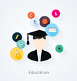 Education concept flat icons set vector