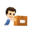 Man pushing box vector