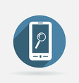 Smartphone magnifying glass circle blue icon vector
