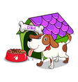 A dog beside the bowl with foods vector