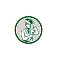 Scientist lab researcher welder circle retro vector
