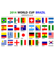 World cup brazil 2014 all nations flags vector