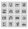 Black home appliances icons set vector