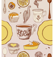 Sweet cupcakes and tea vector
