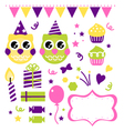 Owl birthday party design elements set vector
