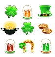 St patricks days icons set on white background vector