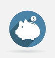 Piggy bank circle blue icon with shadow vector