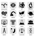 Science areas icons black vector
