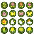 Spring season object icons set vector